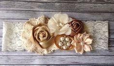 Vintage inspired Ivory taupe satin lace headband,cream flower headband-newborn, baby,m2m persnickety-photo prop-flower girl- bridal on Etsy, $17.99