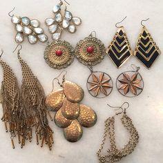 Gold chandelier earrings lot Super pretty 7 different earrings. Some of my favorites. Just don't seem to wear anymore. Great deal if you love earrings like me Jewelry Earrings