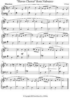Verdi - Slaves Chorus from Nabucco sheet music for Piano