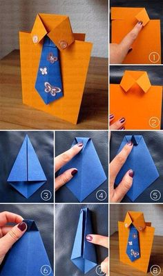 Cute and easy DIY Fathers Day Card Ideas to make at home.DIY Fathers day cards tutorials for making origami shirt cards,tie theme cards Diy And Crafts, Crafts For Kids, Arts And Crafts, Paper Crafts, Diy Father's Day Cards, Origami Shirt, Origami Dress, Pioneer Gifts, Jw Gifts