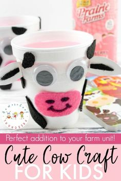 This cow craft is perfect for your farm preschool unit. With just a few simple household items, your preschoolers will transform a simple styrofoam cup into a cute little cow. #homeschoolprek #homeschooling #preschool #cowcraft #kidscraft #craftsforkids #farmanimalcrafts    https://homeschoolpreschool.net/cow-craft/