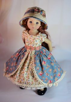 """This charming handmade ensemble will fit 13"""" Dianna Effner Little Darling Dolls. Included in this ensemble to detail. The outfit is made of high quality materials. """"Tea With My Friends"""". The hat is based on a pattern by Monica Spicer. 