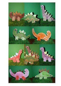 Create dinosaur from cardboard and split bifurcated rivets -  Tạo hình khủng long bằng giấy bìa cứng và đinh tán 2 chân