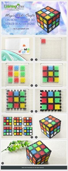 Magic Cube Crafts on How to Make 3D Perler Bead Designs
