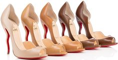 Part of Christian Louboutin's new inclusive nude collection of footwear is the Deepik pump. The peep-toe d'orsay pump features a signature scalloped vamp and comes with a unique wavy heel.