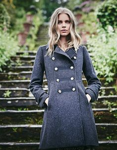 Our stylish and sumptuously soft Adrianna wool-blend military coat is tailored in a smart double-breasted silhouette, complete with embossed metal buttons. I...