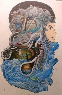 Studio Ghibli - Howl's Moving Castle, My Neighbor Totoro, Spirited Away, Ponyo Totoro, Studio Ghibli Tattoo, Studio Ghibli Art, Hayao Miyazaki, Miyazaki Tattoo, Tatoo Manga, Ghibli Movies, Desenho Tattoo, Howls Moving Castle