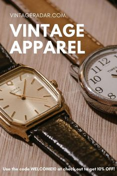 Need some finishing touches to your vintage outfits? Vintage Radar is the place where you will find thousands of vintage watch models for women and men, as well vintage accessories for every occasion. Gold-tone watches, silver-tone watches, unique vintage jewelry pieces. Discover Vintage Radar! #vintage #apparel #jewelry #watches Vintage Accessories, Vintage Jewelry, Timex Expedition, Timex Indiglo, Timex Watches, Antiques Online, Watch Model, Vintage Watches, Unique Vintage