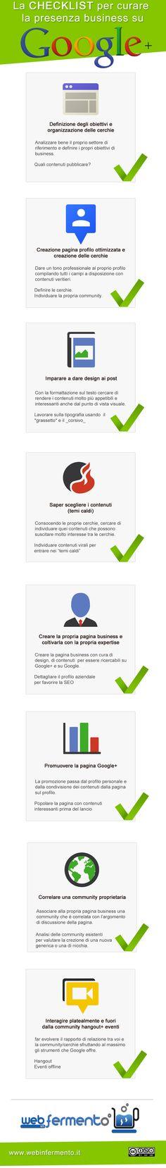 Google+ la checklist per fare business http://www.webinfermento.it/google-la-checklist-per-fare-business-infografica/