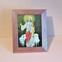Religious Christian Framed Foil Picture of Jesus The Good Shepherd Pictures Of Jesus Christ, Religious Pictures, Christ The Good Shepherd, Saint Yves, The Cross Of Christ, Holy Family, French Vintage, Christianity, Good Things
