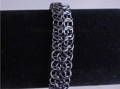 Hematite Interwoven Chainmaille Bracelet metallic dark grey silver tone toggle clasp European I4 in 1 chainmail Persian edge on Etsy, $52.00