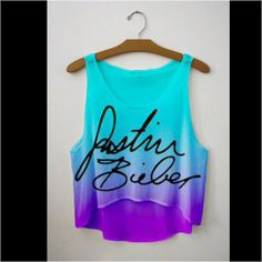 Blue and purple Justin Bieber tank top