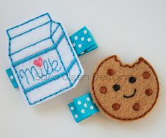 Wayyyy too cute!  Milk and Cookies Hairclip, Felt Embroidered Hairbow, Hair Clippie, Felt Hair Clip, Cookie Hair Clips, White Brown Turquoise. $7.00, via Etsy.