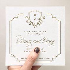Gold Foil Save the Date with Custom Crest | Stephanie B Design | Wedding Stationery | Wedding Monogram