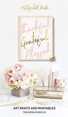 Thankful Grateful Blessed Wall Art, Pink and Gold Foil Wall Decor, Motivational Poster, Christian Art, Dorm Room Decor – WorkOffice Work Desk Decor, Pink Office Decor, Pink Gold Office, Feminine Office Decor, White Office, Pink Und Gold, Blush Pink, Festa Toy Story, Home Office Design