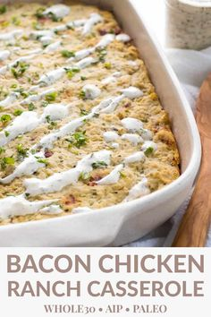 This Bacon Chicken Ranch Casserole is one of the best AIP recipes! It's an easy dinner that's great for batch cooking and freezing leftovers for lunch. Bonus: it's a winner for kids! Batch Cooking, Cooking Recipes, Healthy Recipes, Paleo Food, Easy Paleo Dinner Recipes, Easy Whole 30 Recipes, Paleo Recipes For Kids, Eating Paleo, Dishes Recipes