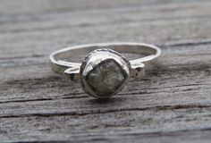 Raw Diamond Engagement Ring; Unique Diamond Ring in Sterling Silver, bezel set rough diamond, hammered polished band by LoMoStudio on Etsy