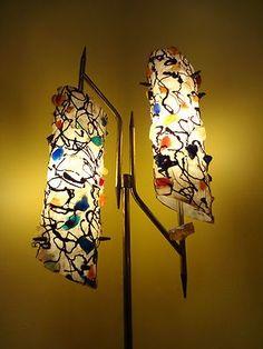 atomic age lamps | 1950s 60s Eames Majestic Era Lucite Chunks Shade Danish MCM Floor Lamp