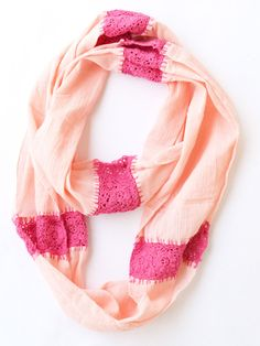 Mixed Media Infinity Scarf in Cherry Blossom