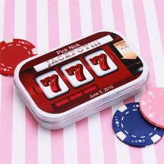 Wedding Favors & Party Supplies - Favors and Flowers :: Wedding Favor Themes :: Las Vegas Wedding Favors :: Slot Machine Personalized Mint Tins