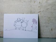 Postcard for lesbian wedding, Valentine's Day, .... Order it on PinkCloudStuff.etsy.com © Femke Vindevogel, 2014