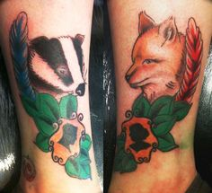 Tattoo<3 tattoos on my ankles based on my two favourite characters in Fantastic Mr Fox (and Animals of Farthing Wood), finally got them coloured in today.done by Holly Dixon at Inkognito, Accrington UK Tattoo~