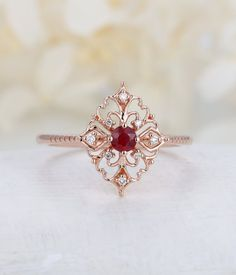 Art deco engagement ring Vintage ruby engagement ring rose gold Floral Unique Diamond wedding women Bridal Anniversary gift for her - Schmuck - Ringe Ruby Engagement Ring Vintage, Deco Engagement Ring, Ruby Ring Vintage, Tiffany Engagement, Vintage Diamond, Morganite Engagement, Vintage Silver, Art Deco Jewelry, Fine Jewelry