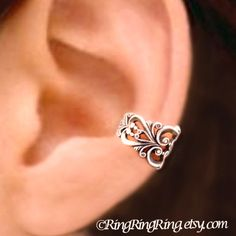 24K Gold Princess Filigree ear cuff earring by RingRingRing, $45.00