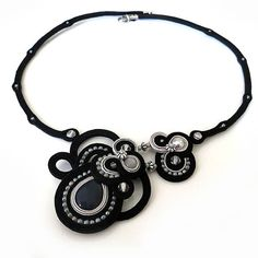 Statement black grey necklace soutache OOAK soutache by sutaszula