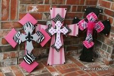 Pink Black and White Crosses by twistofdazzle on Etsy, $45.00