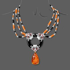 onyx ring held in place by three ruby and diamond Papyrus-motif components, held up by three strands of Black and Orange enamel links in 18k white Gold suspending a massive Pear-shaped mandarin garnet