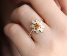 Flower Engagement Ring, Floral Daisy Ring with orange sapphire and marquise diamonds, Diamond Flower Ring by Minimalvs Floral Engagement Ring, Classic Engagement Rings, Platinum Engagement Rings, Solitaire Engagement, Gemstone Engagement Rings, Wedding Engagement, Daisy Ring, Orange Sapphire, Sapphire Diamond