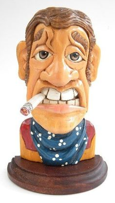 Hand Carved Wood Cowboy Caricature Carving OOAK. $55.00, via Etsy.