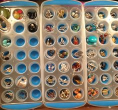 Use mini ice cube trays for rings and earring storage.  These came from the Target dollar spot.
