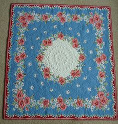 Raspberry and White Floral quilted vintage by BarbsQuilting, $850.00