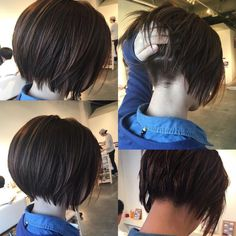 Lower back is shaved so that layers hang right. Grown out pixie. short bob  undercut