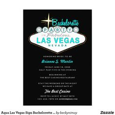 Aqua Las Vegas Sign Bachelorette Party Invitation