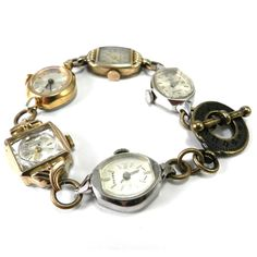 Watch Bracelet - Antique Wrist Watch Movements from Compass Rose Design Jewelry www.compassrosedesignjewelry.com