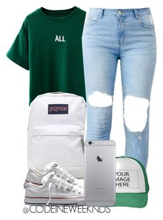 A fashion look from July 2015 featuring green t shirt, converse sneakers and zip bag. Browse and shop related looks. Cute Outfits For School, Cute Casual Outfits, Swag Outfits, Dope Outfits, Urban Outfits, College Outfits, Girl Outfits, Fashion Outfits, Winter Looks