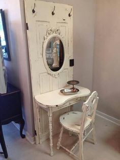 Vanity from an old door. - Vanity from an old door. Informations About Vanity from an old door. Pin You can easily use my profi - Decoration Shabby, Shabby Chic Decor, Shabby Chic Side Table, Shabby Chic Mirror, Decorations, Shabby Chic Bedrooms, Shabby Chic Homes, Repurposed Furniture, Shabby Chic Furniture