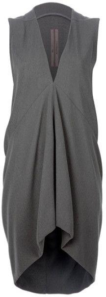 Rick Owens Khaki Wool Tunic Dress