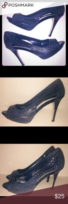 White House Black Market Heels 9 Blue Leather Gorgeous pair of WHBM cobalt blue peep toe stilettos. Leather, cut outs 9m White House Black Market Shoes Heels