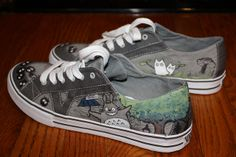 Totoro vans - hand painted shoes, love the soot sprites!