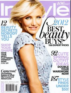 Who made Cameron Diaz's blue lace short sleeve dress that she wore on the cover of Instyle magazine? Dress – Valentino