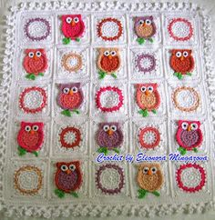 Really love the white squares with colored ring. Nice alternative to break up the main granny squares. ~Love Crochet: MADE TO ORDER Handmade, Hand Crochet Owl blanket afghan granny squares