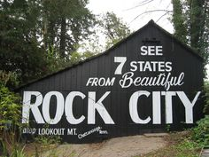 "Since 1935, they have stood as genuine highway Americana, their bold white-on-black signs compelling both snowbirds & Sunday drivers to a spot near Chattanooga, Tennessee, where they could ""See Rock City"".  The Rock City barns once dotted the map from the Great Lakes to the Gulf of Mexico. In 2005, Rock City marked the 70th anniversary since the barns first appeared as advertising icons, fewer than 100 remain out of a rural network that once numbered near 900."