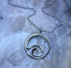 Sterling Silver Wave Ocean Pendant Necklace by MahinaSpirit, $29.00