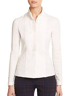 Designer Clothes, Shoes & Bags for Women Cream Blouse, Saks Fifth Avenue, Long Sleeve Tops, Applique, Curvy, Blouses, Shopping, Collection, Boots