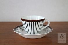 Coffee Cups And Saucers, Cup And Saucer, Stig Lindberg, Sweden, Scandinavian, Porcelain, Mint, Ceramics, Tableware