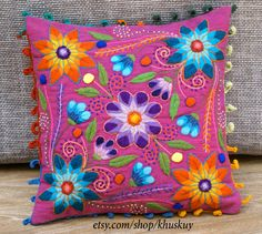 Pillow cushion cover Hand embroidered flowers Sheep & alpaca wool 16 x 16 handmade Magenta Peruvian pillow by khuskuy on Etsy